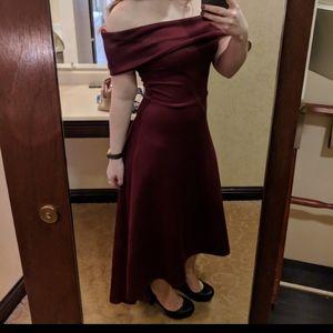 Charlotte Russe Red Maroon Off Shoulder Dress